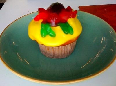 Birthday spider cupcake