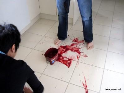 Plum splatters in the kitchen