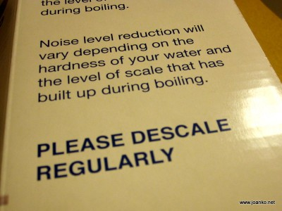 Descaling warning