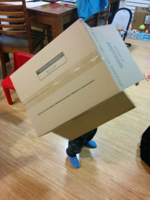 A toddler has a large box over her head. Only her legs and feet are visible. She is indoors.