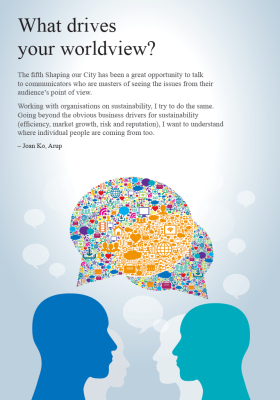 The front page of a booklet entitled 'What drives your worldview?'. It includes two silhouetted heads talking to each other with colourful speech bubbles.